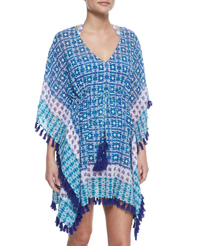 Kaleidoscope-Print Tunic Coverup with Tassels