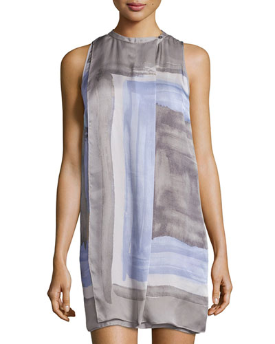 Sleeveless Scarf-Print Dress