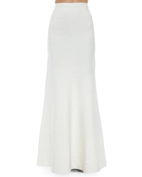 Herve Leger Jayde Signature Bandage Mermaid Skirt, Alabaster