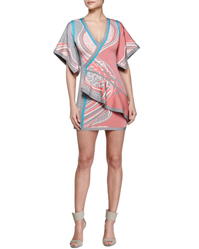 Mixed Geometric-Print Mini Kimono Dress