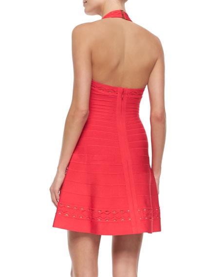 Aureana Zigzag-Trimmed Halter Dress
