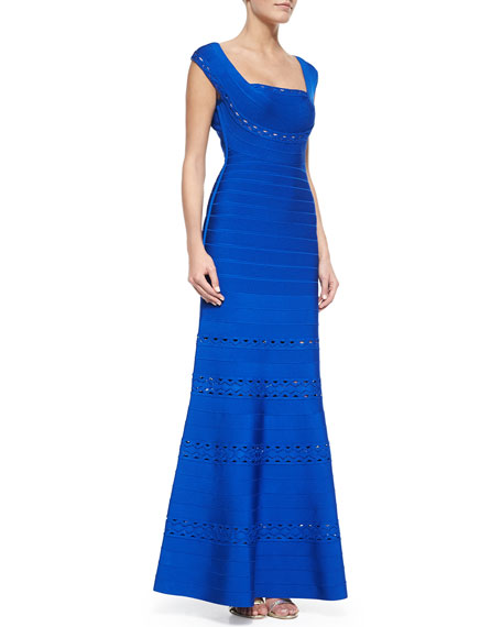 Herve Leger Georgianna Zigzag-Trimmed Bandage Gown