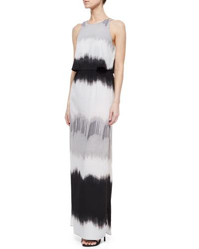 Sleeveless Shaded-Print Maxi Dress