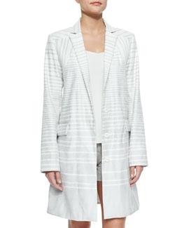 Long Striped Coat W/ Flap Pockets