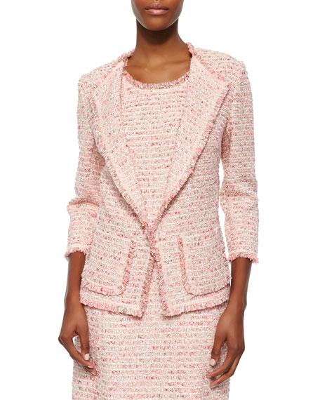 Neiman Marcus Boucle 3/4-Sleeve Jacket