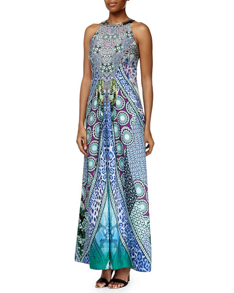 Ranna Gill Sleeveless Beaded-Neck Geometric-Print Maxi Dress
