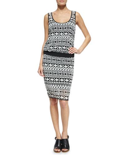 Cassie Sleeveless Geometric-Print Dress, Black/White