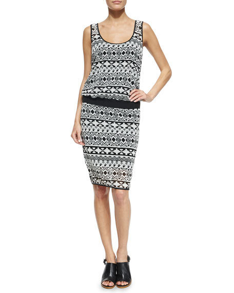 Black Halo Cassie Sleeveless Geometric-Print Dress, Black/White