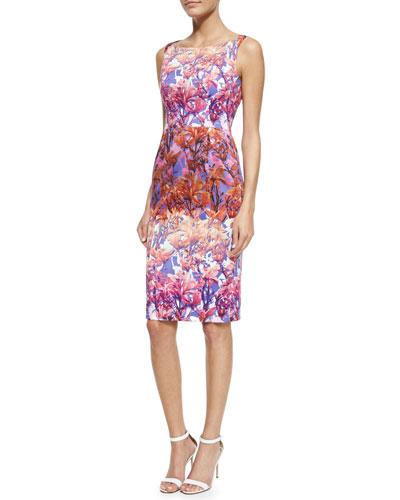 Shanna Floral Sheath Dress, Fuchsia/Multicolor