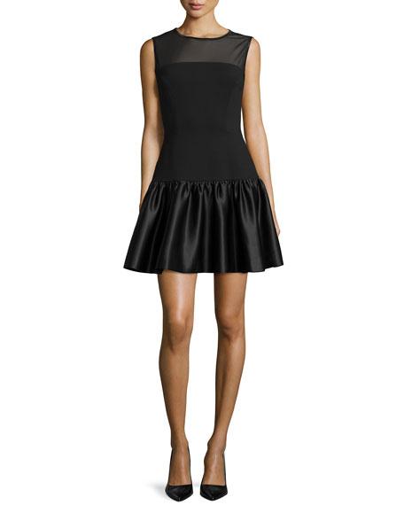 Erin Fetherston Satin-Flounce-Skirt Illusion Dress
