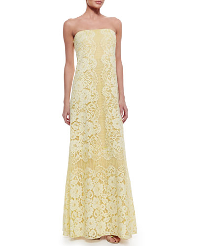 Strapless Lace Gown, Lemongrass