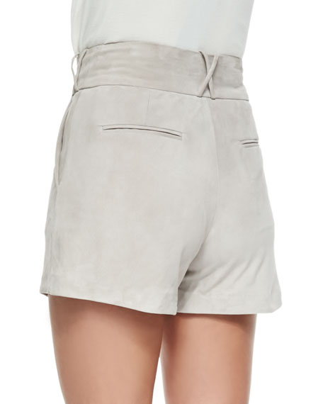 Lambskin Suede Shorts, Gray