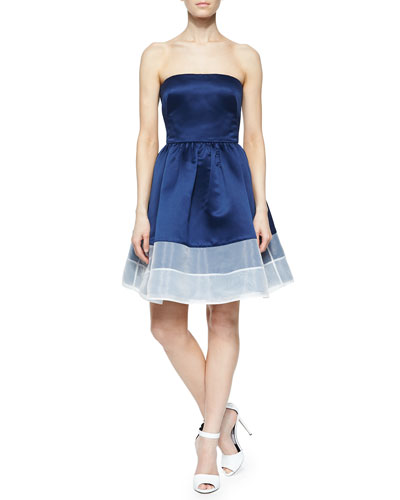 Strapless Colorblock Cocktail Dress, Navy