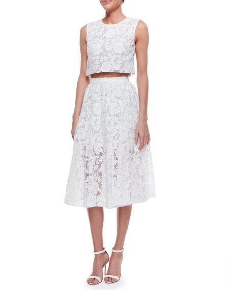 Midi Lace Skirt, White