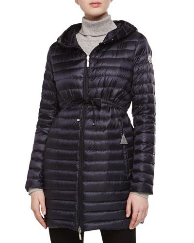 Barbel Hooded Down-Fill Knee-Length Jacket, Navy