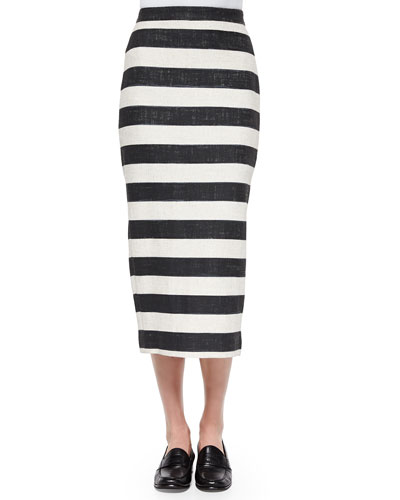 A.L.C. Guy Striped Pencil Midi Skirt