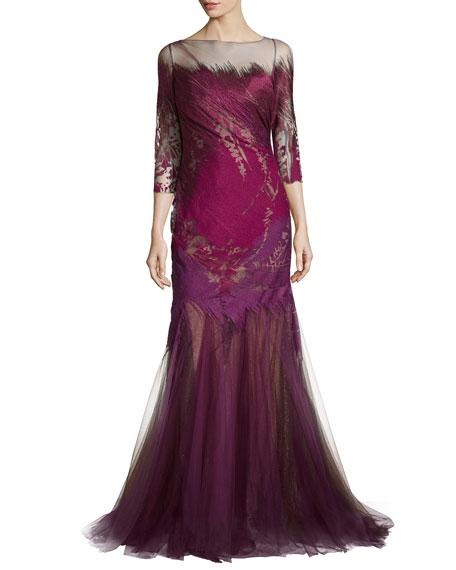 Rene Ruiz 3/4-Sleeve Mermaid Gown