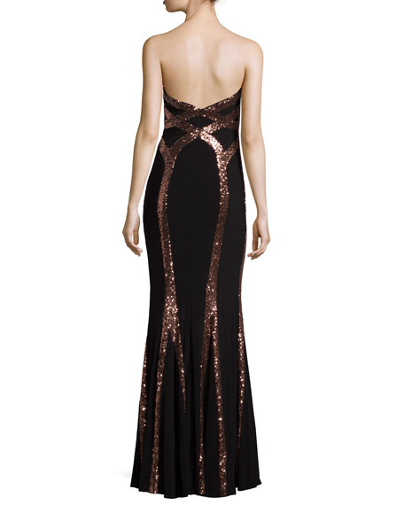 Strapless Sweetheart Sequined Dress
