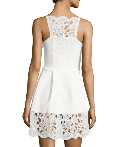 Alexis Cole Embossed Floral-Lace Dress