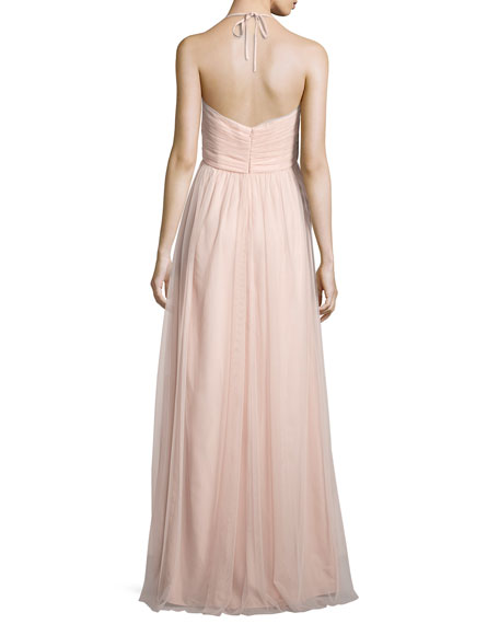 Braided-Front Tulle Gown, Blush