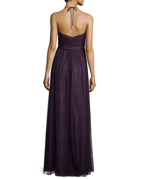 Braided-Front Tulle Gown, Plum