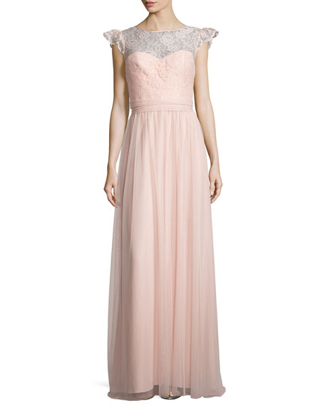 AmsaleCap-Sleeve Lace-Trim Tulle Gown, Blush