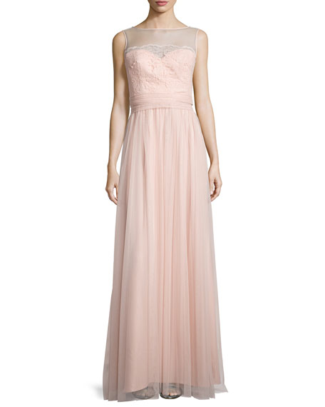 Amsale Lace-Trim Sleeveless Tulle Gown, Blush