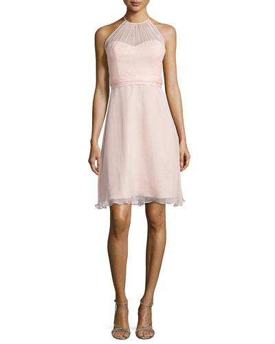 Sweetheart-Illusion Chiffon Cocktail Dress, Blush