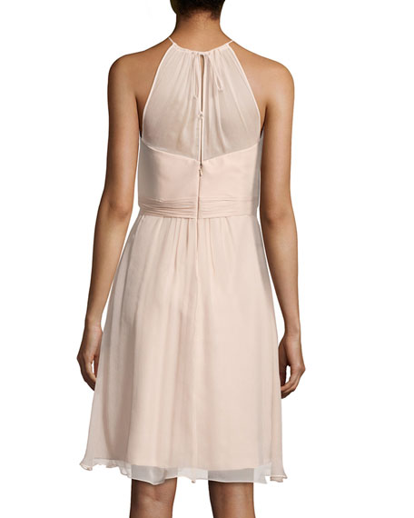Sweetheart-Illusion Chiffon Cocktail Dress, Fawn