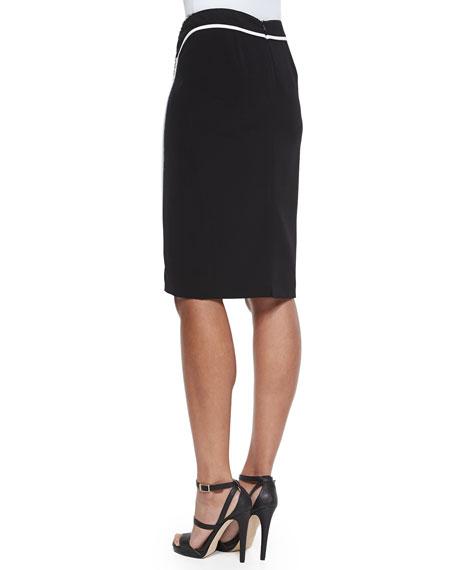 Omega Grid-Print Paneled Pencil Skirt
