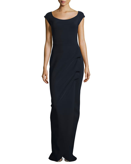 Adreina Cap-Sleeve Ruffle Gown, Navy