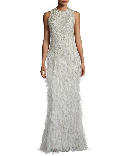 Vaughn Beaded Feather-Skirt Gown