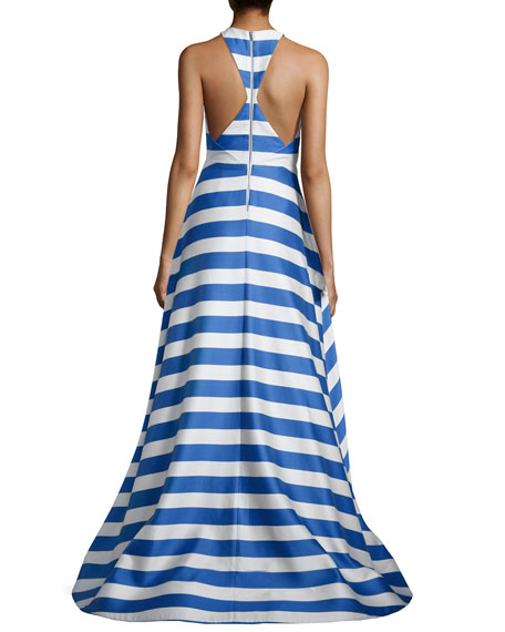 Marsha Striped Sleeveless Gown, Blue/White