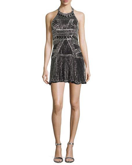 Parker Black Leona Sleeveless Beaded Halter Dress