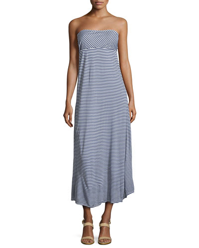 Malibu Stripe Strapless Maxi Dress, Navy