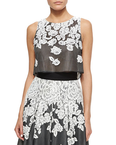 Embroidered Floral Lace Tank