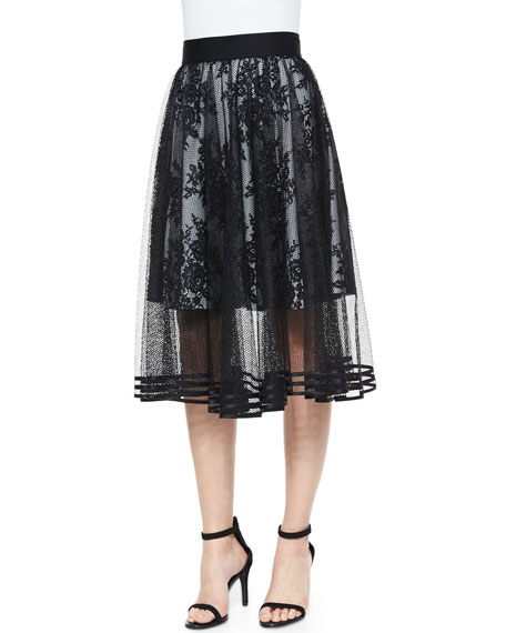 Sachin & Babi NoirMesh Overlay Tea-Length Ball Skirt