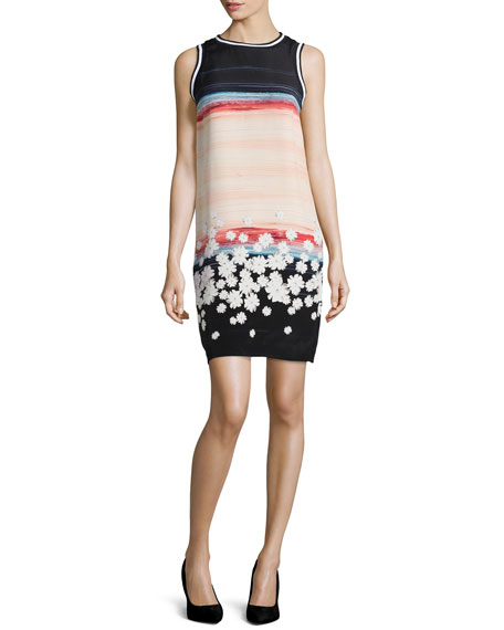 Elia Silk Floral-Print Dress, Salmon