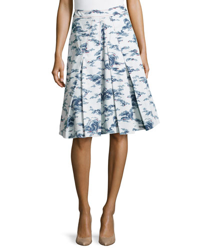 Cloud-Print A-Line Skirt