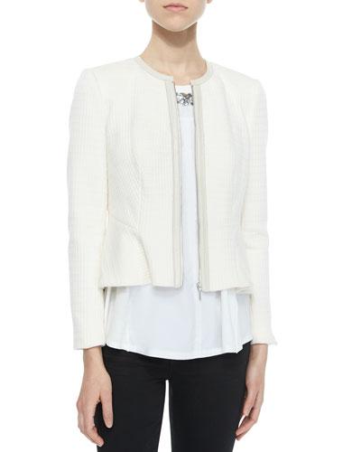 Double-Face Knit Ruffle Jacket