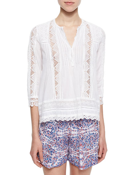 Rebecca Taylor Lace/Eyelet Voile Top