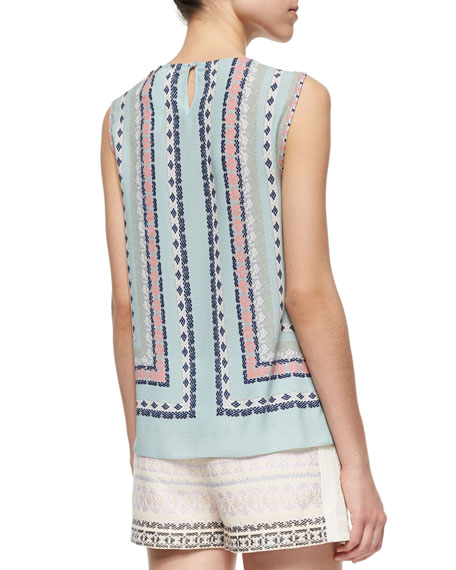 Printed Cross-Front Sleeveless Top