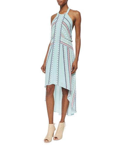 High-Low Printed Halter Dress, Aquamist Combo