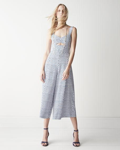 Rebecca Taylor Tulip-Print Cutout Sleeveless Jumpsuit