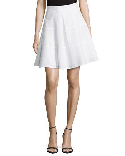Sassy High-Waist Pleated Skirt, White