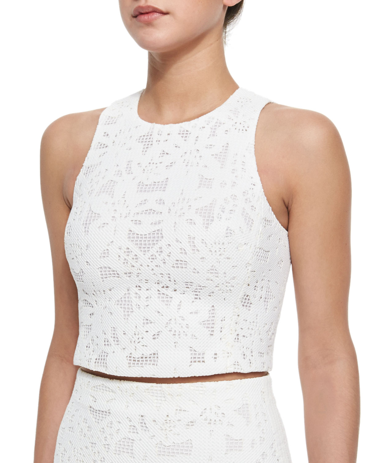 7817c8b2996 Rebecca Taylor Netted Lace Sleeveless Crop Top | Neiman Marcus