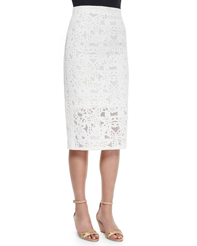 Netted Lace Long Pencil Skirt