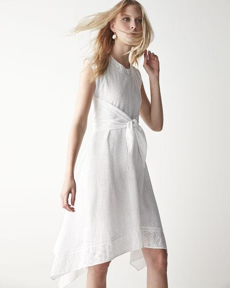 Rebecca Taylor Netted/Eyelet Tie-Waist Dress