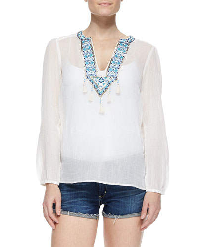 Bhutan Beaded Embroidered Voile Top
