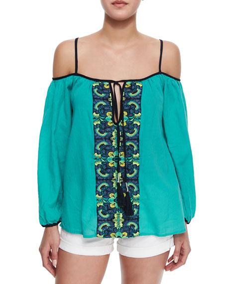Aruba Embroidered Cold-Shoulder Top